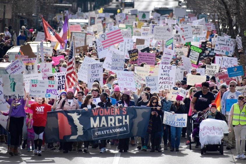 The line of marchers stretches down Market Street during the Women's March on January 20, 2018.