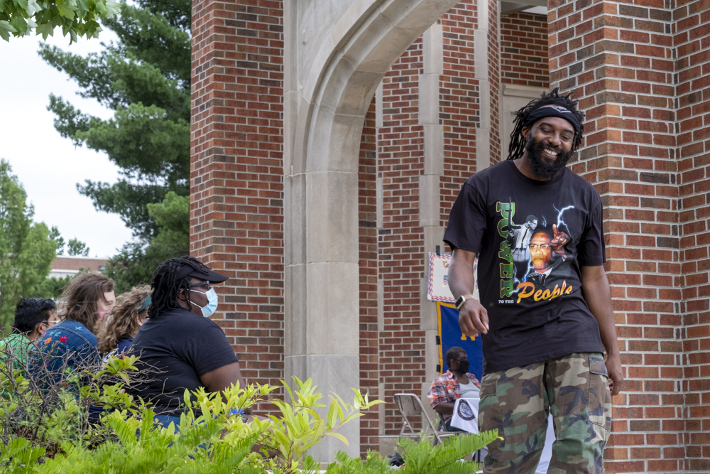 "Cameron ""C-Grimey"" Williams smiles after speaking out on police brutality and systemic racism at the University of Tennessee at Chattanooga. Friday, July 26, 2020. (Photo by Dewayne Bingham)"